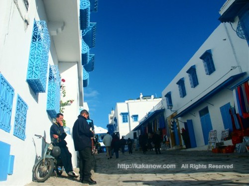 Restful life in Sidi-Bou-Said, blue and white town in Tunisia, Mediterranean coast, North Africa