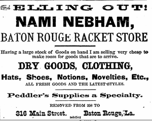 Nebham's advertisement in the Baton Rouge Advocate, July 24, 1894.