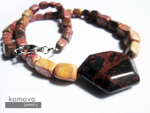 Picasso Marble Necklace with Red Jasper Pendant