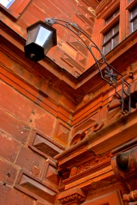 Red sandstone construction