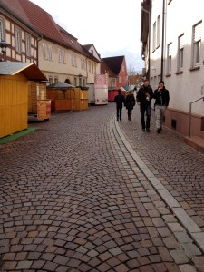 Glühwein and food stands line the street leading into town
