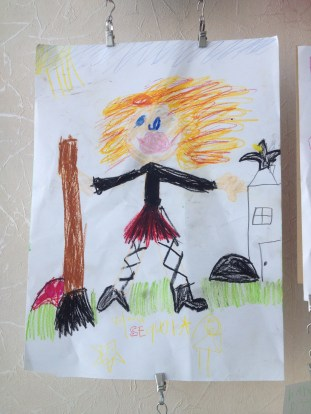 children's artwork, the little witch, pastels