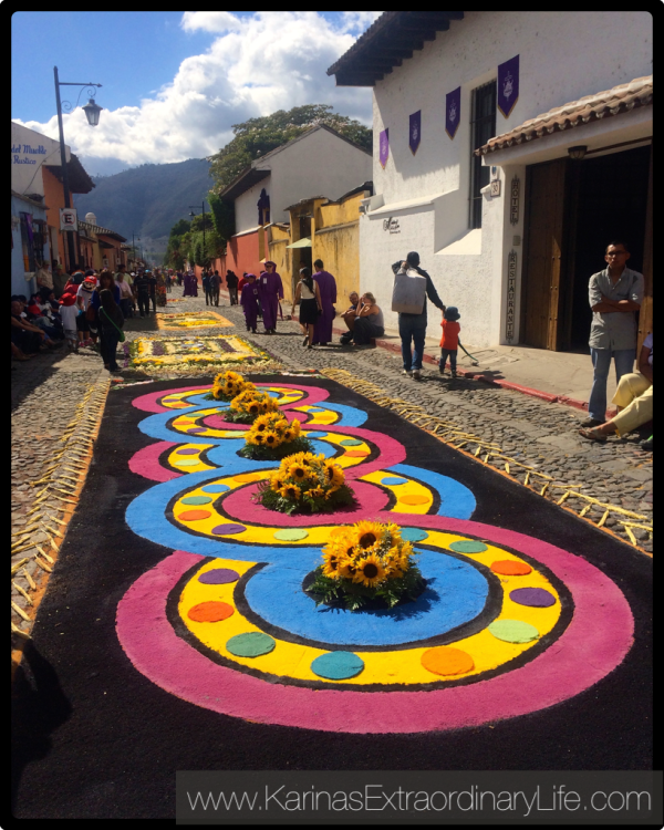 Alfombras made of coloured sawdust and flowers adorn the streets of Antigua, Guatemala -- Karina Noriega