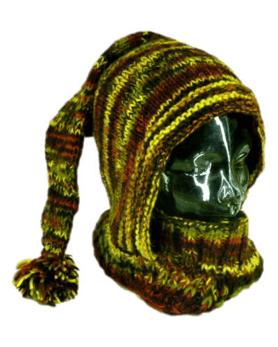Brown knitted warm winter hood| Karma Gear