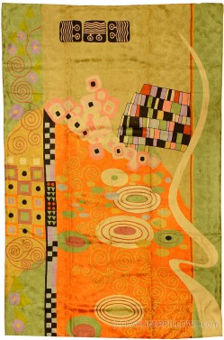 Startling Klimt Orange Green Rugs Abstract Wall Hangings Accent Carpets Hand Embroidered Area Rug Tapestry Carpet Decorative Wall Art Tapestries Swirl Artwork 1c