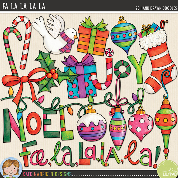 Fa La La La La doodles by Kate Hadfield Designs