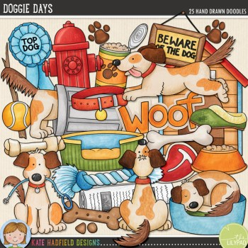 Doggie Days doodles from Kate Hadfield Designs