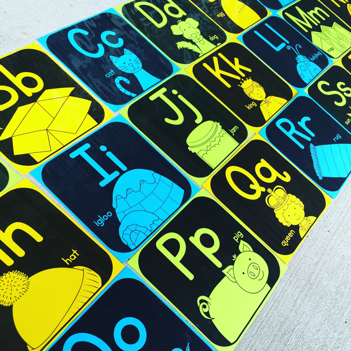 Classroom alphabet display from Primary Punch || #katehadfielddesigns