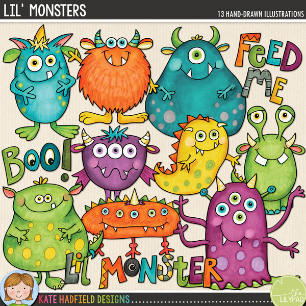 Lil' Monsters doodles by Kate Hadfield Designs