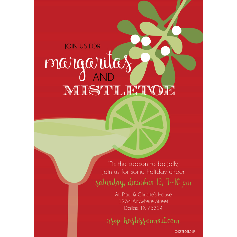Margaritas And Mistletoe Party Invitation KateOGroup