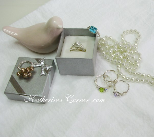variety of wire wrapped rings