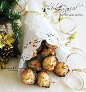 Chocolate Dipped Coconut Drop Cookies