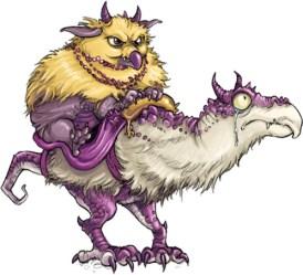 bird goblin riding a dragon steed