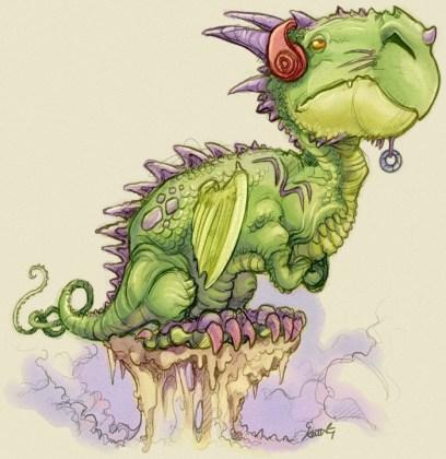 Dragon with headphones