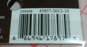 Product Number/Bar Code