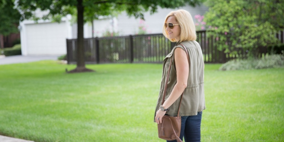 Bringing my military vest and booties out and styling them for the new fall season.