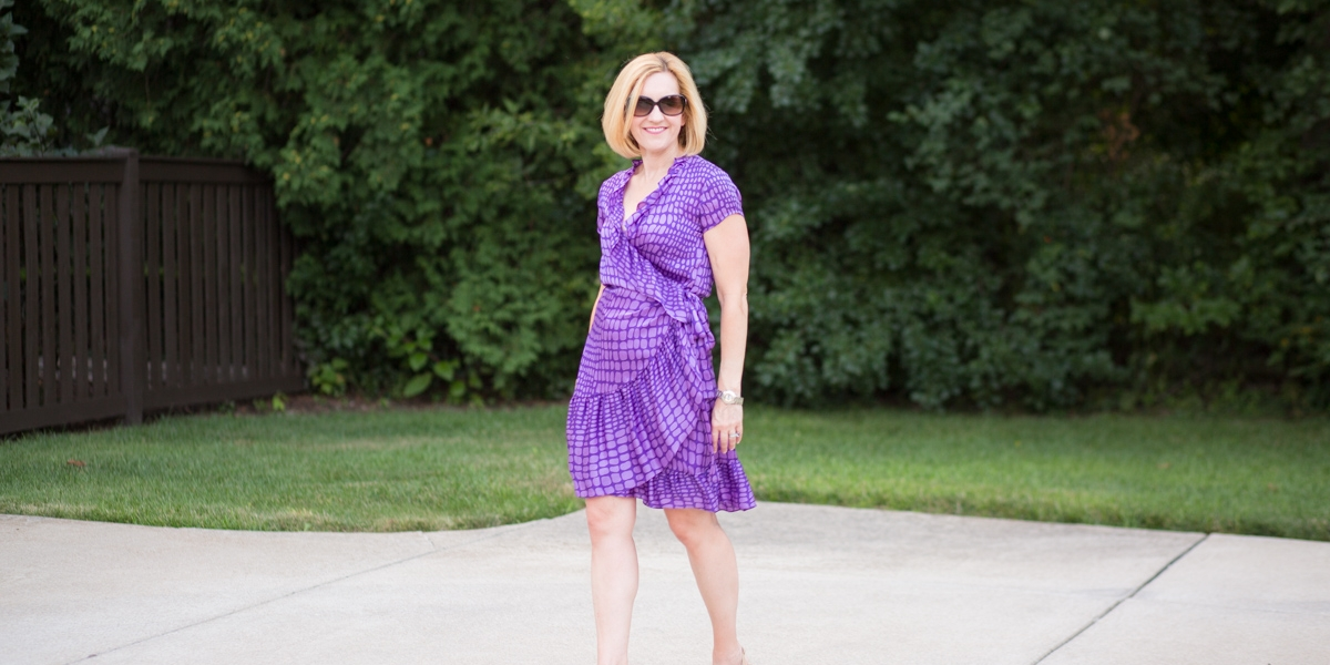 A ruffled silk purple dress from my Luxury Garage Sale LuxBox.