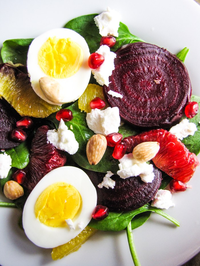 Roasted Beet and Spinach Salad with Goat Cheese, Eggs, Pomegranate ...