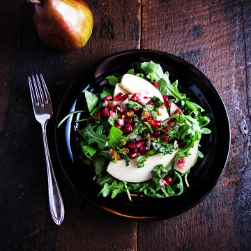 Pomegranate and Pear Salad {Katie at the Kitchen Door}