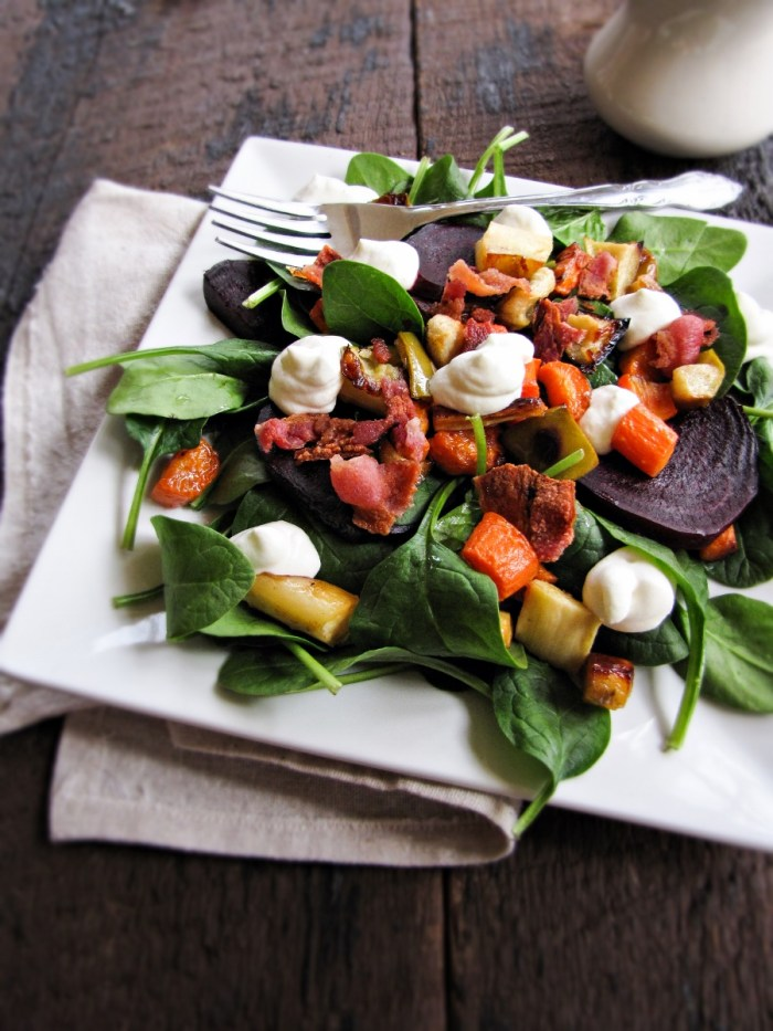 Roast Apple, Carrot, and Parsnip Salad with Goat Cheese Mousse {Katie at the Kitchen Door}