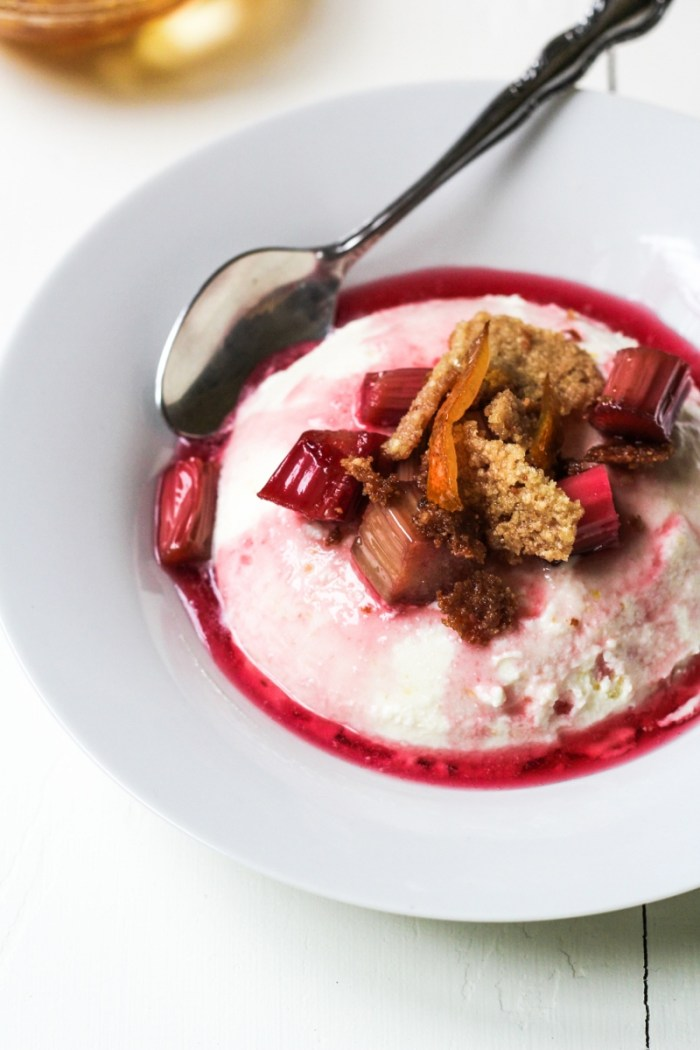 Ricotta Bavarese with Red-Wine Poached Rhubarb {Katie at the Kitchen Door}