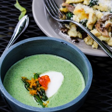 Sunday Dinner: Chilled Asparagus Soup and Mustard Spaetzle with Mushrooms {Katie at the Kitchen Door}