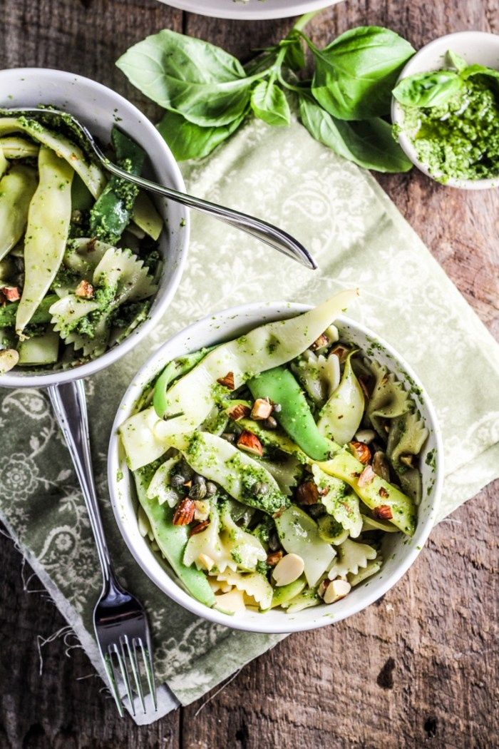 Green Bean Farfalle with Pesto, Capers, and Almonds {Katie at the Kitchen Door}