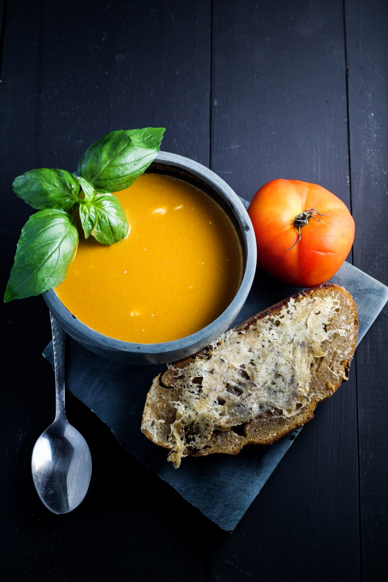Spicy Fresh Tomato-Basil Soup with Caraway-Cheese Toasts | Katie at ...
