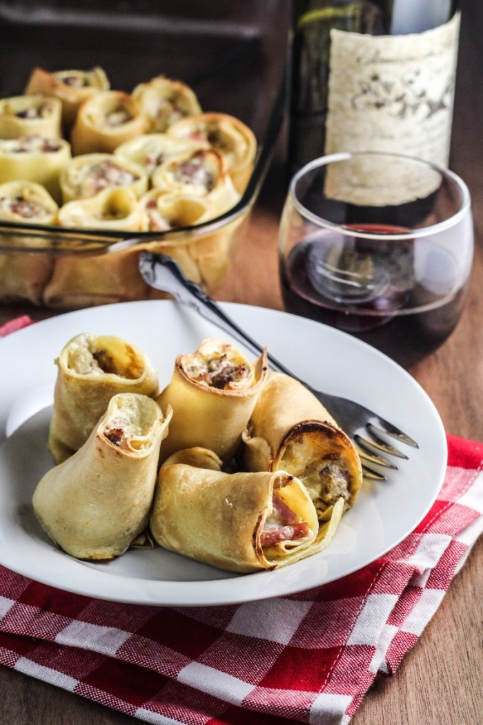 Italian Baked Stuffed Crepes with Sausage and Cheese {Katie at the Kitchen Door}