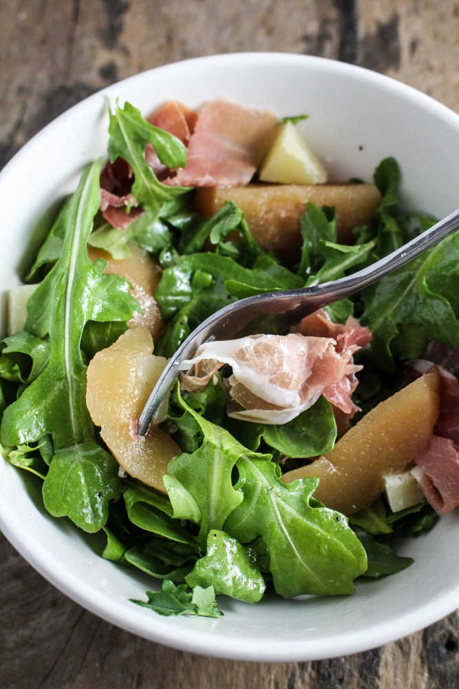 Arugula, Quince and Prosciutto Salad - Alamos Wine Dinner