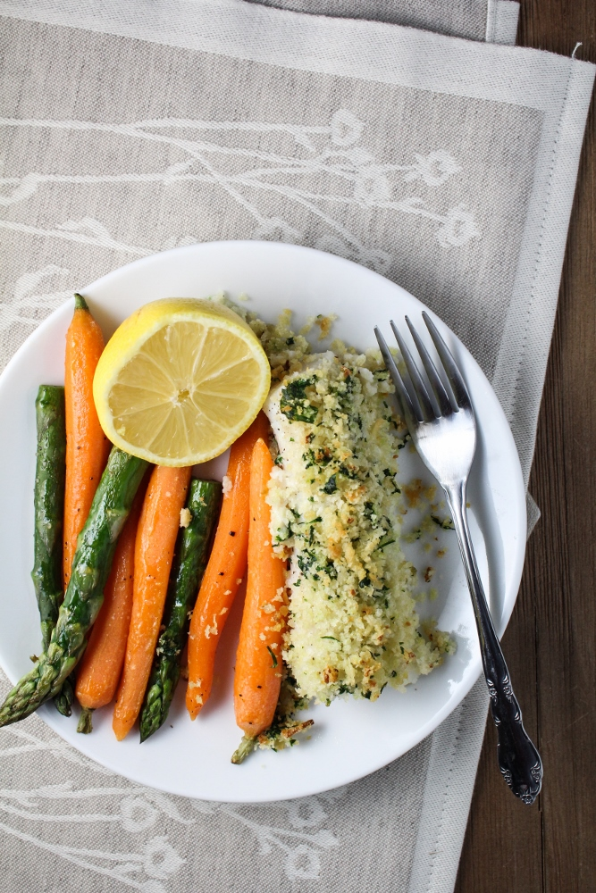 Relished Foods Meal Delivery Review - Panko-Crusted Cod with Roasted Asparagus and Carrots {Katie at the Kitchen Door}