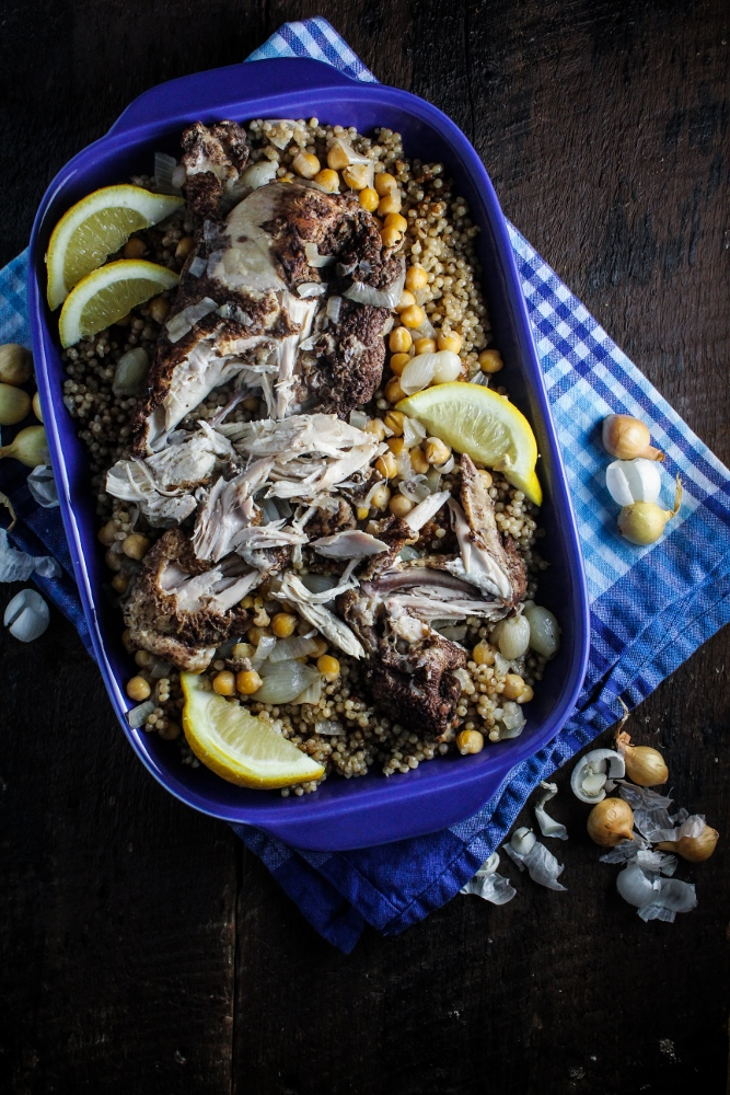 Maftool: Palestinian Couscous with Chicken, Chickpeas, and Pearl Onions {Katie at the Kitchen Door}