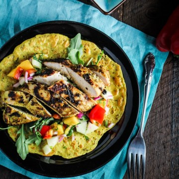 10 Healthy Winter Recipes - Chickpea Crepes with Grilled Curried Chicken and Mango Salsa {Katie at the Kitchen Door}