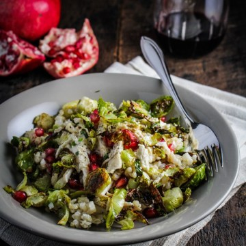 Crispy Brussels Sprouts, Lemon Chicken, and Pomegranate Rice Bowl {Katie at the Kitchen Door}