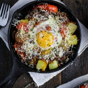 Hangover Hash - Potatoes, Chorizo, Peperonata, Caramelized Onions, Eggs, and Gouda {Katie at the Kitchen Door}