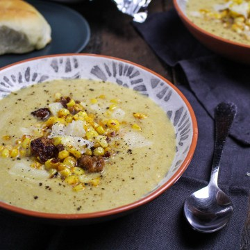 Harissa-Butter Roasted Corn Soup with Chorizo {Katie at the Kitchen Door}
