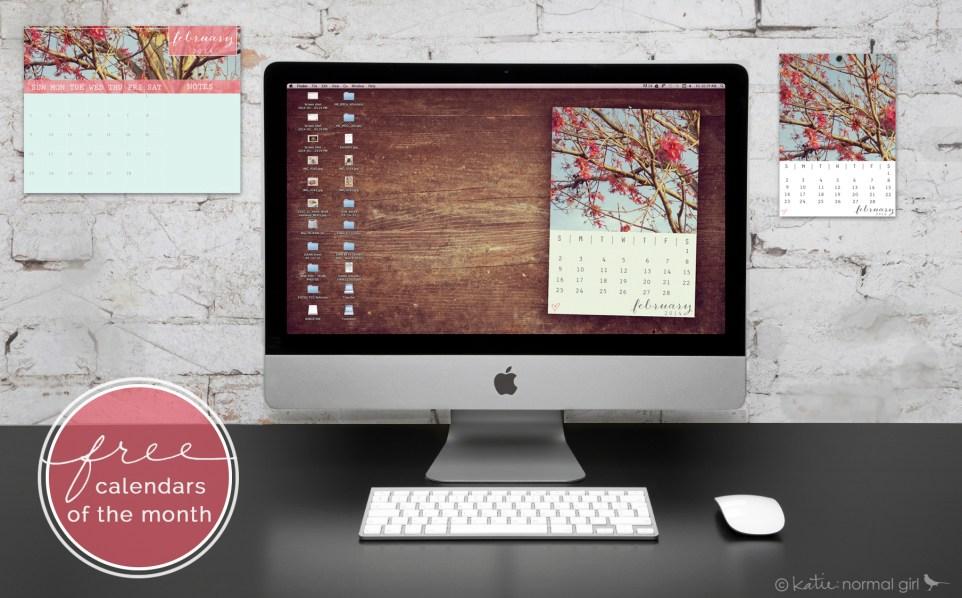 Freebie February calendars from katienormalgirl.com