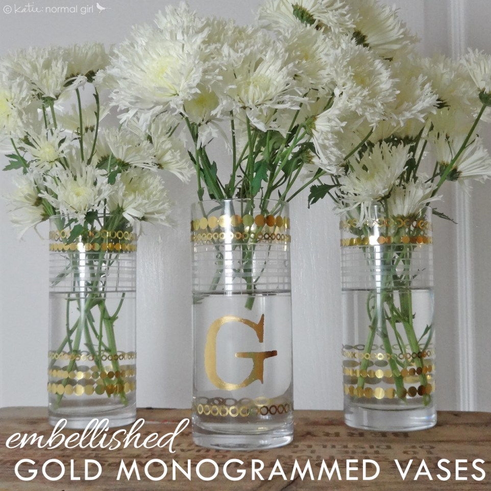 Gold Monogrammed Flower Vases from katienormalgirl.com | #DIY #crafts #homemade