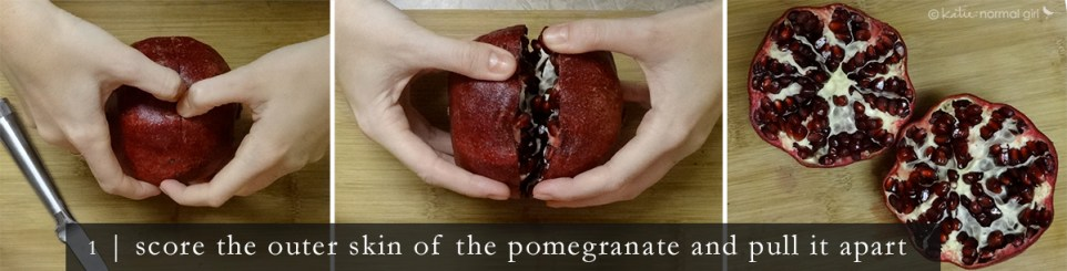 How to get pomegranate seeds out - step 1 katienormalgirl.com | #howto #lifeskills #food