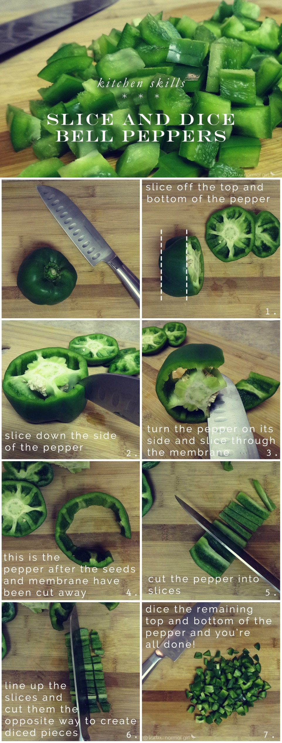How to slice and dice a bell pepper from katienormalgirl.com #lifeskills #cooking