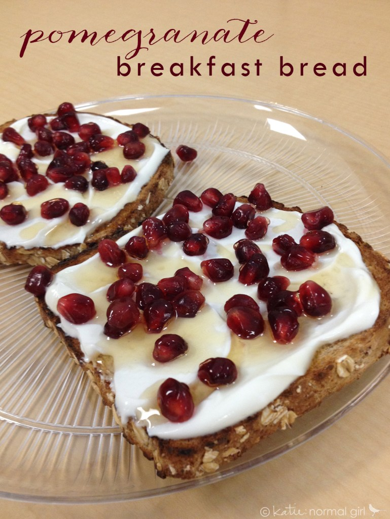 Pomegranate Breakfast Bread from katienormalgirl.com | #breakfast #meatlessmonday #vegetarian #food