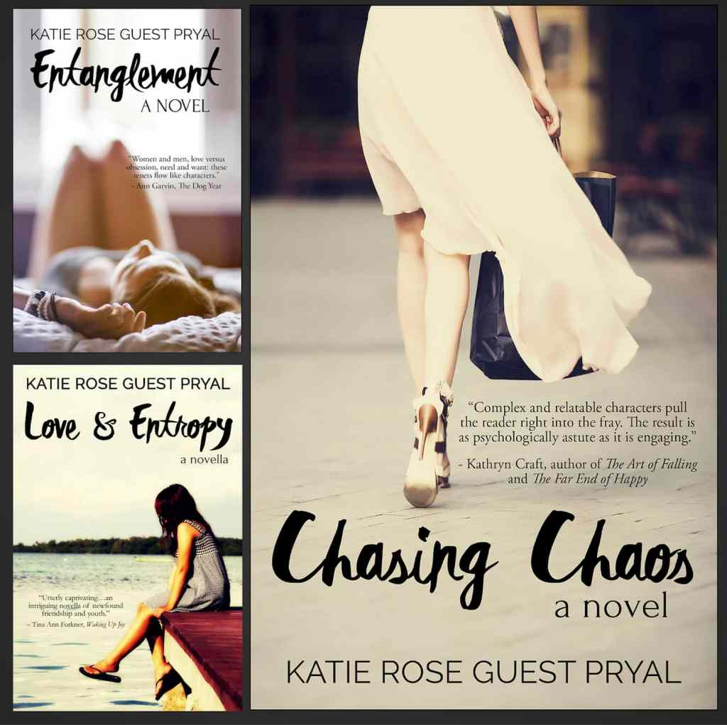Three book covers of the Entanglement Series by Katie Rose Guest Pryal, with the cover of the latest novel, Chasing Chaos (#3 in the series), featured largest. The covers of Entanglement (#1) and Love and Entropy (#2) are smaller.