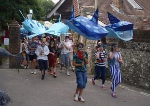 Sharks, carnival , patina Lewes