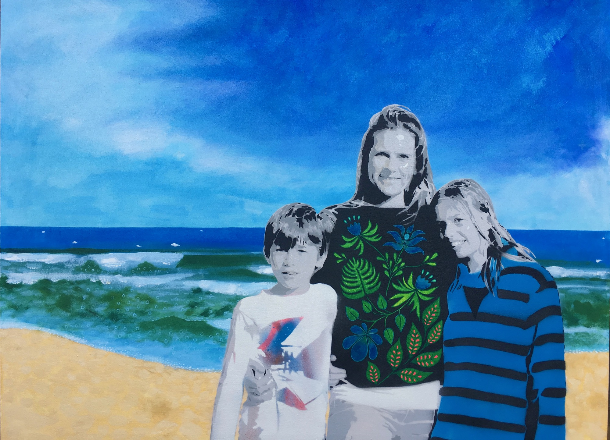 portrait, stencil art, love, family, holiday, memories, portrait commission