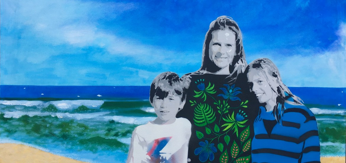 stencil art, painting, commission portrait, family portrait