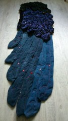 wing, denim, flight, textile art, pinning, sewing