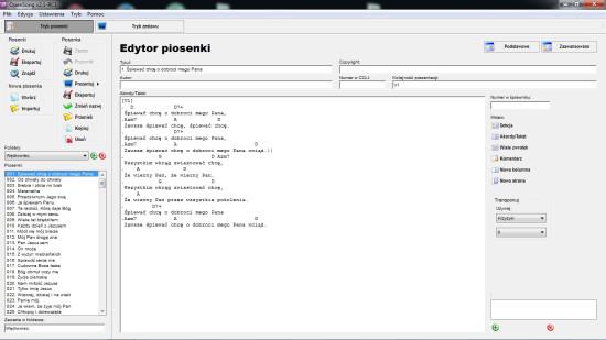 Zrzut ekranu, pokazujący widok listy pieśni w programie Opensong.