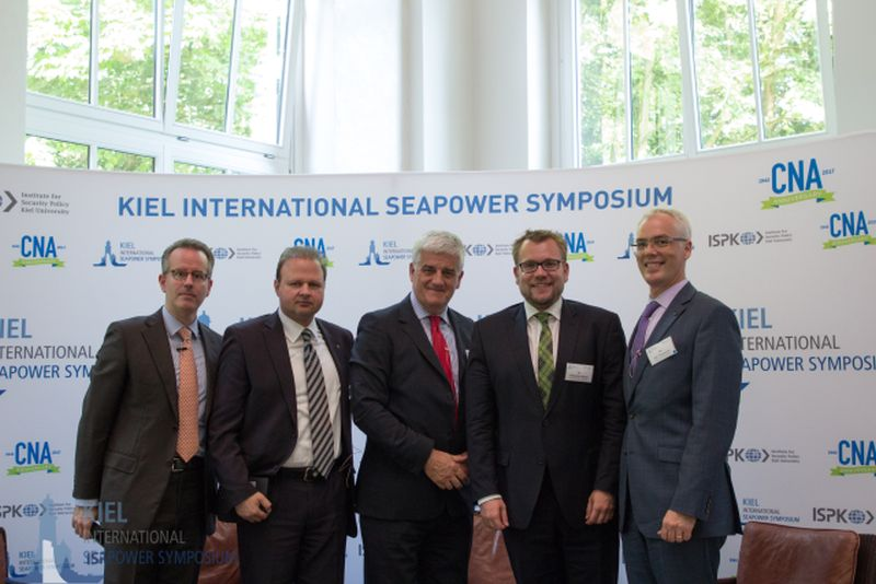 From left to right, Dr. Heiko Borchert, George X. Protopapas (KEDISA), RADM, Dr. Chris Parry University of Reading, Dr. Sebastian Bruns Director ISPK Kiel and Dr. Eric Thompson Vice President and Director CNA Strategic Studies