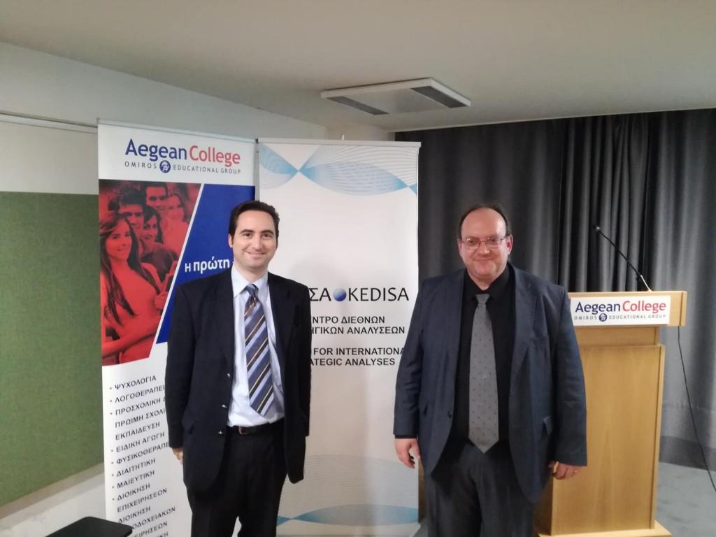 Από αριστερά προς τα δεξιά: Ο Ιδρυτής & Πρόεδρος Δ.Σ. του ΚΕΔΙΣΑ Ανδρέας Γ.Μπανούτσος και ο εισηγητής του εκπαιδευτικού σεμιναρίου Δρ. Ηλίας Ηλιόπουλος
