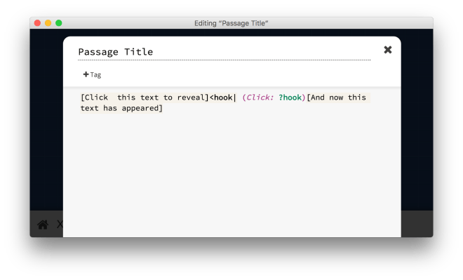 Twine Passage showing how hook and (click:) syntax works